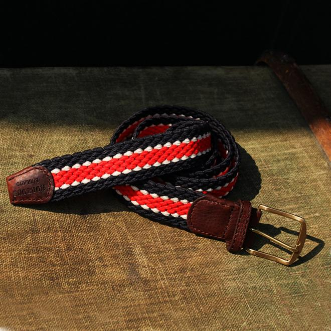 Stumpers Distinctively Classic Coloured elastic belt in Red, Navy and White with a Leather finish