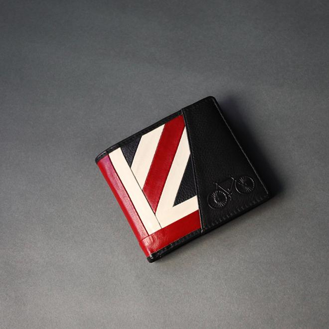 Union Jack Leather Wallet with Bicycle (L)