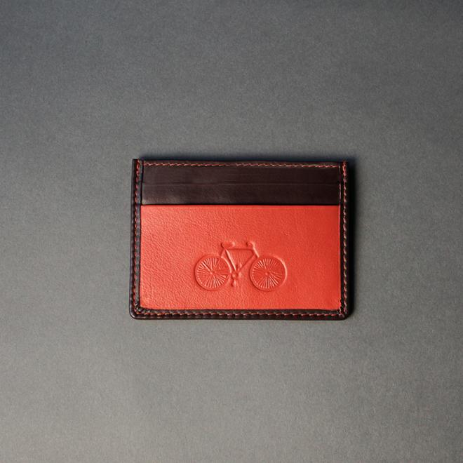 Leather Orange and Brown Card Holder