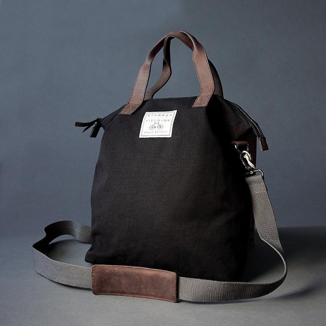 Plain Black Canvas Shoulder Bag