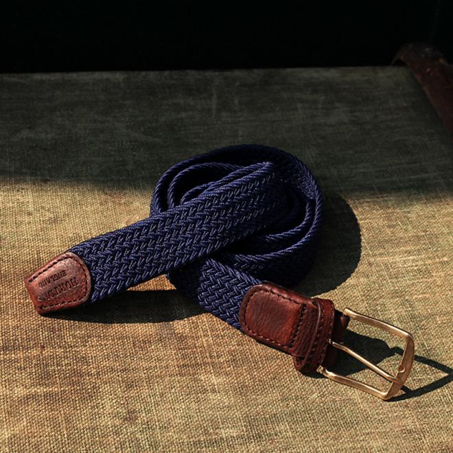 Plain Deep Blue Elastic Belt with Leather Finish