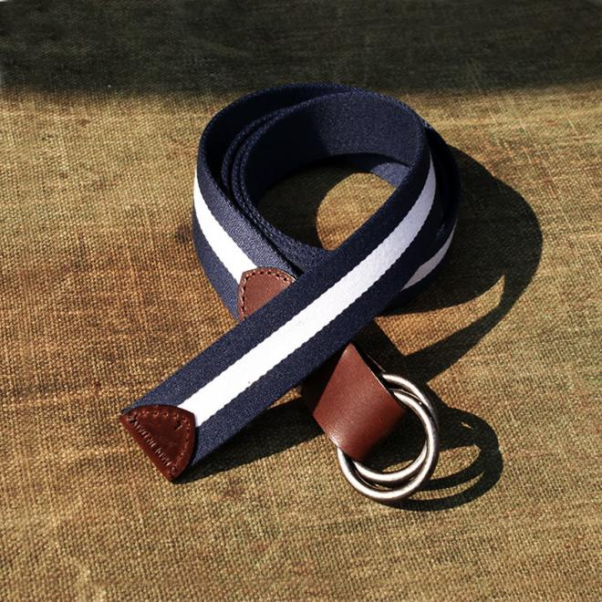 Stumpers classic two wave Navy and White vintage Fabric Belt