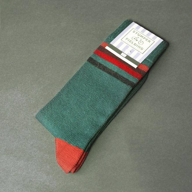 Orange Burgundy Greens Socks