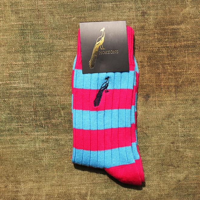 Hortons Striped Candy Pink and Electric Blue Socks