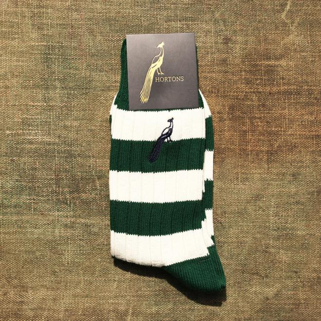 Hortons Striped Racing Green and white Socks