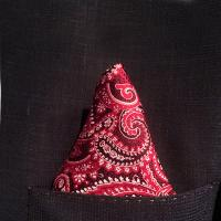 Red and Burgundy Polkadot Silk Pocket Hankie
