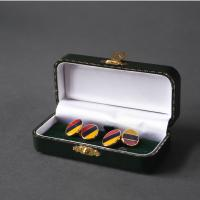 Rounded Red, Yellow and Navy Three Wave Striped Cufflinks