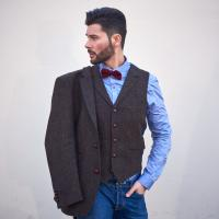 Men Harris Tweed Jacket With Waistcoat