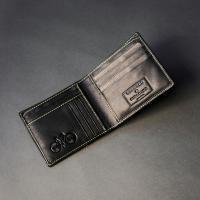 Black Leather Wallet With Subtle Yellow Stitch (J)