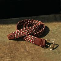 Three wave Green, Tan and Terracotta coloured Elastic Belt with a leather finish