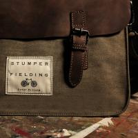 Leather/Cotton Satchel 'The Tenby'  Khaki and Brown