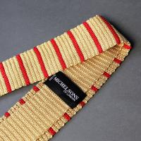 Gold and Scarlet Silk Striped Tie