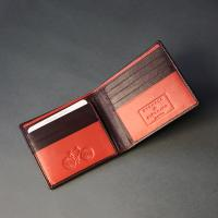 Deep Brown Leather Wallet with Orange Detail Stitch 08