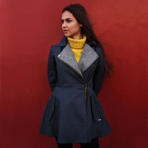 Ladies Peregrine Wax Jacket with Harris Tweed