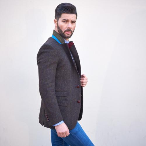 Men Harris Tweed Jacket With Waistcoat